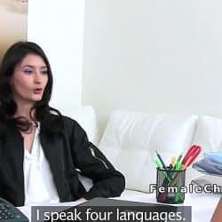 Lesbisk brunette jævla i jobbintervju