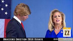 Donald Trump knuller Hillary Clayton under en politisk debatt
